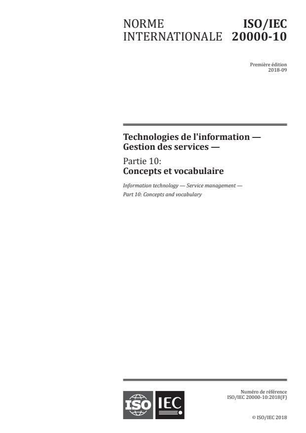 ISO/IEC 20000-10:2018 - Technologies de l'information -- Gestion des services