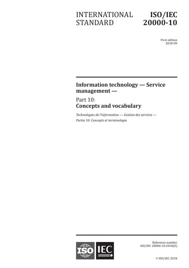 ISO/IEC 20000-10:2018 - Information technology -- Service management
