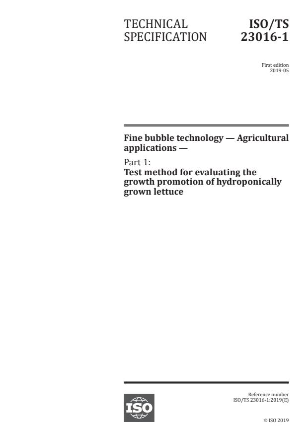 ISO/TS 23016-1:2019 - Fine bubble technology -- Agricultural applications