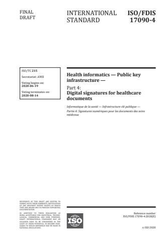 ISO/FDIS 17090-4 - Health informatics -- Public key infrastructure