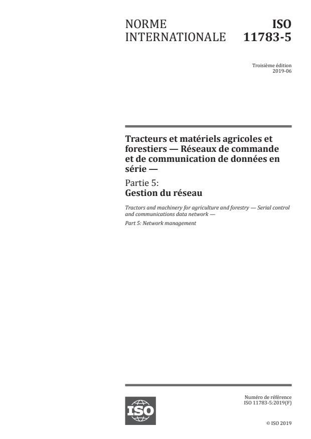 ISO 11783-5:2019 - Tracteurs et matériels agricoles et forestiers -- Réseaux de commande et de communication de données en série