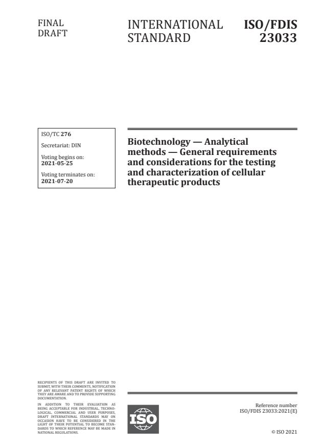 ISO/FDIS 23033:Version 22-maj-2021 - Biotechnology -- Analytical methods -- General requirements and considerations for the testing and characterization of cellular therapeutic products
