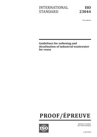 ISO/PRF 23044 - Guidelines for softening and desalination of industrial wastewater for reuse