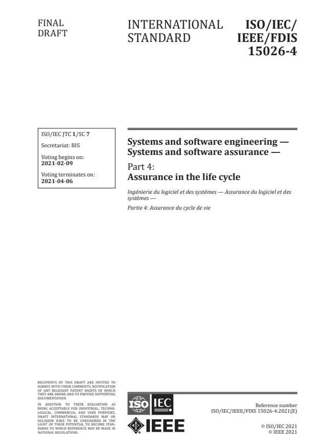 ISO/IEC/IEEE FDIS 15026-4:Version 05-feb-2021 - Systems and software engineering -- Systems and software assurance