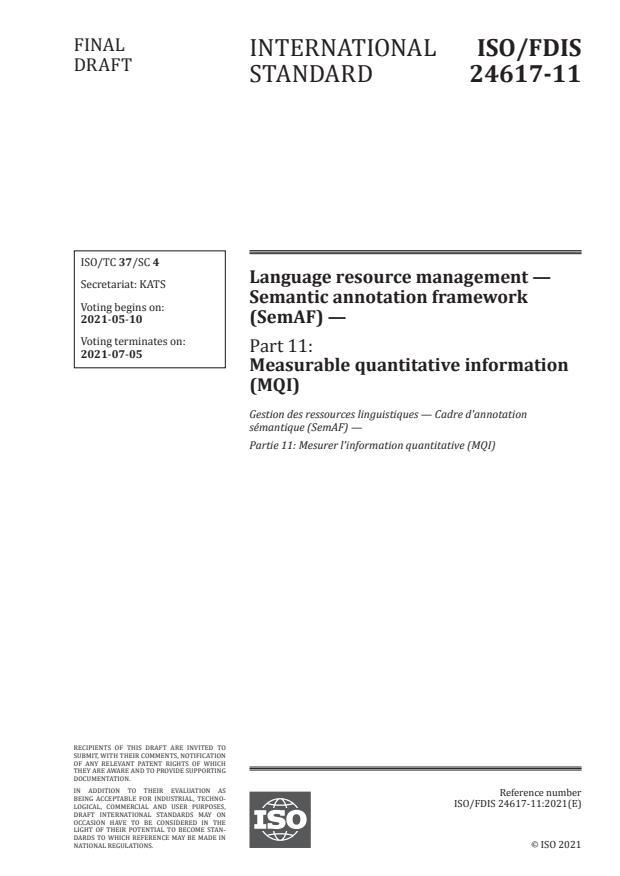 ISO/FDIS 24617-11:Version 01-maj-2021 - Language resource management -- Semantic annotation framework (SemAF)