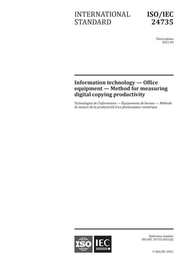 ISO/IEC 24735:2021 - Information technology -- Office equipment -- Method for measuring digital copying productivity