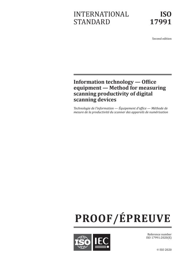 ISO/IEC PRF 17991:Version 21-nov-2020 - Information technology -- Office equipment -- Method for measuring scanning productivity of digital scanning devices