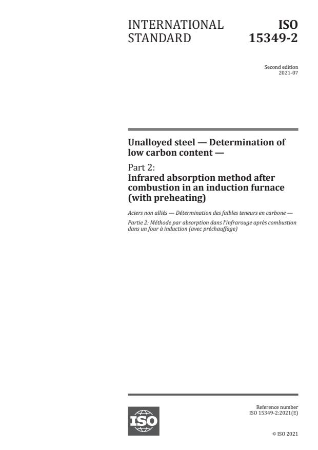 ISO 15349-2:2021 - Unalloyed steel -- Determination of low carbon content