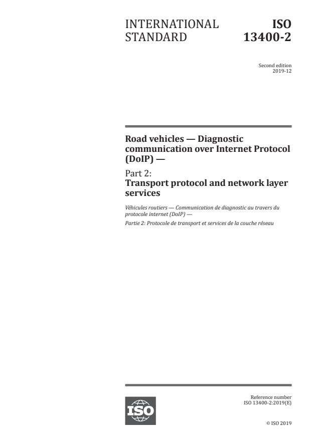 ISO 13400-2:2019 - Road vehicles -- Diagnostic communication over Internet Protocol (DoIP)