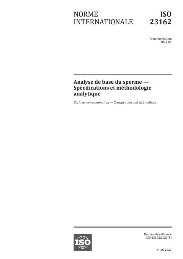ISO 23162:2021 - Analyse de base du sperme -- Spécifications et méthodologie analytique