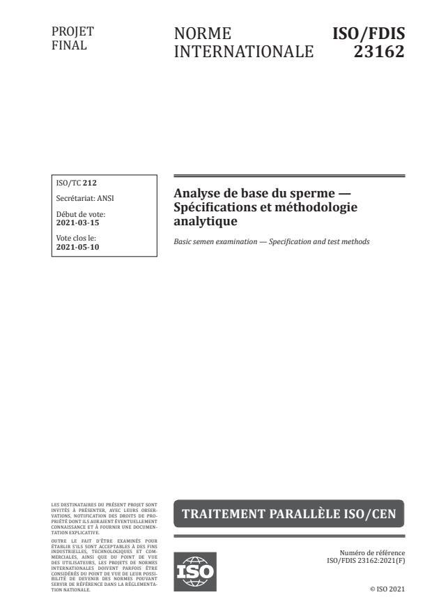 ISO/FDIS 23162:Version 18-apr-2021 - Analyse de base du sperme -- Spécifications et méthodologie analytique