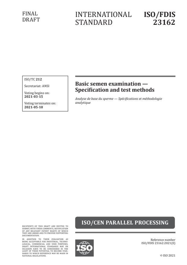 ISO/FDIS 23162:Version 13-mar-2021 - Basic semen examination -- Specification and test methods