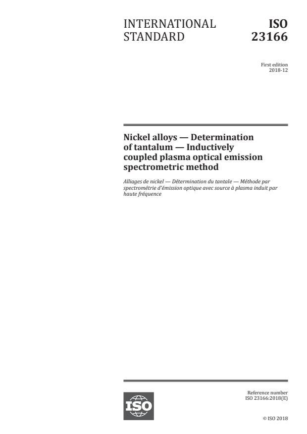 ISO 23166:2018 - Nickel alloys -- Determination of tantalum -- Inductively coupled plasma optical emission spectrometric method