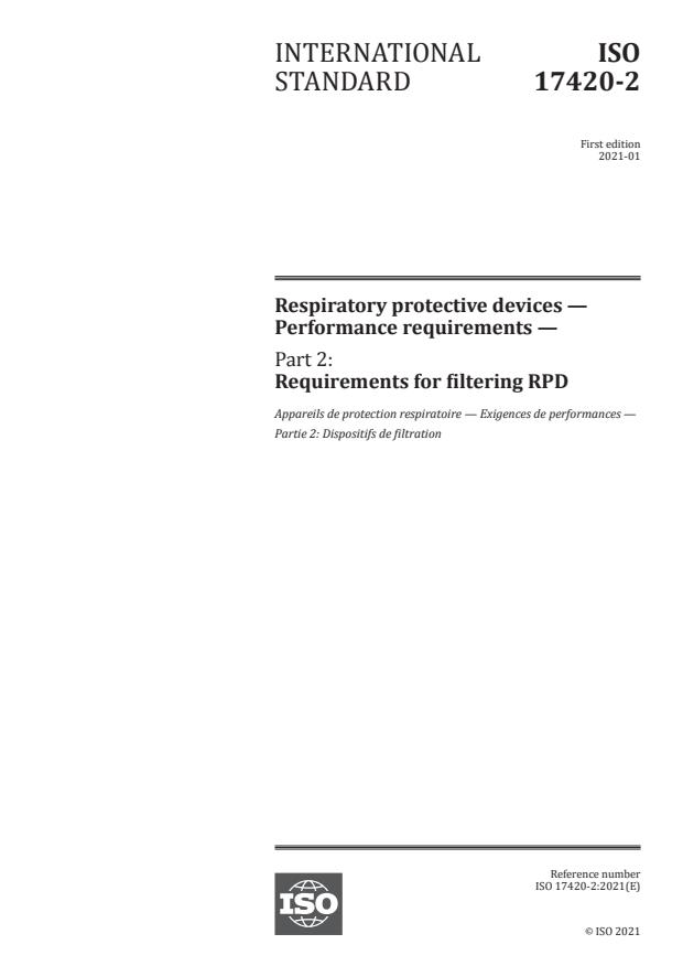 ISO 17420-2:2021 - Respiratory protective devices -- Performance requirements