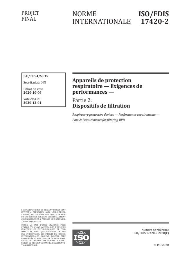 ISO/FDIS 17420-2 - Appareils de protection respiratoire -- Exigences de performances