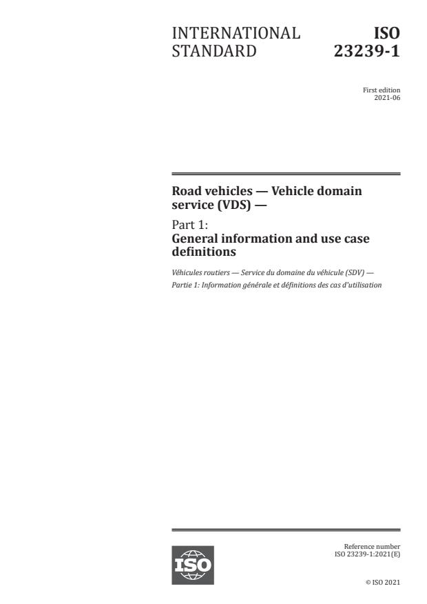 ISO 23239-1:2021 - Road vehicles -- Vehicle domain service (VDS)