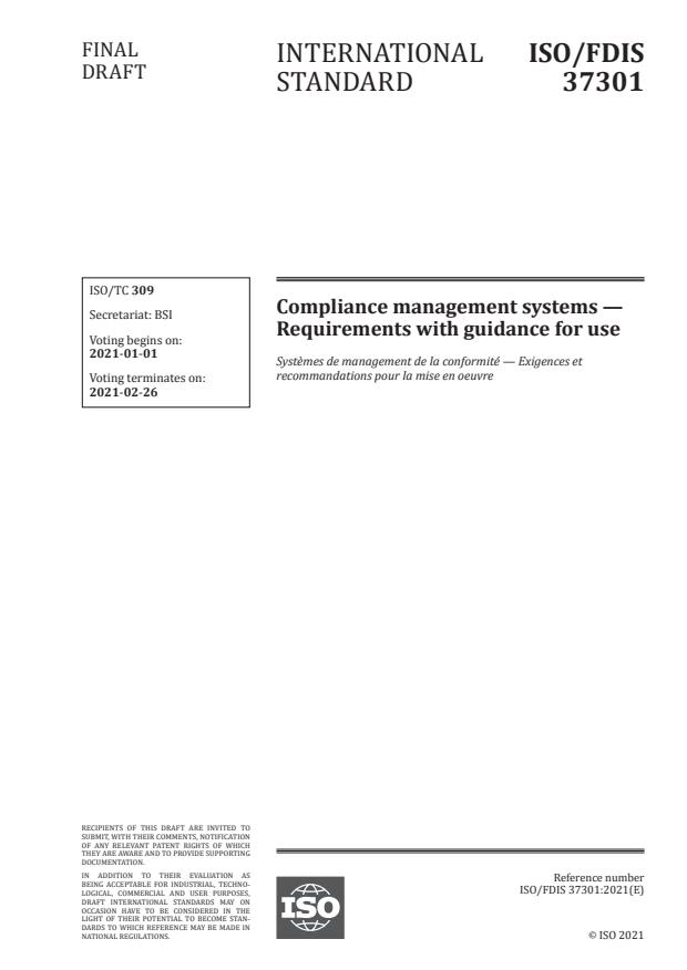ISO/FDIS 37301:Version 26-dec-2020 - Compliance management systems -- Requirements with guidance for use