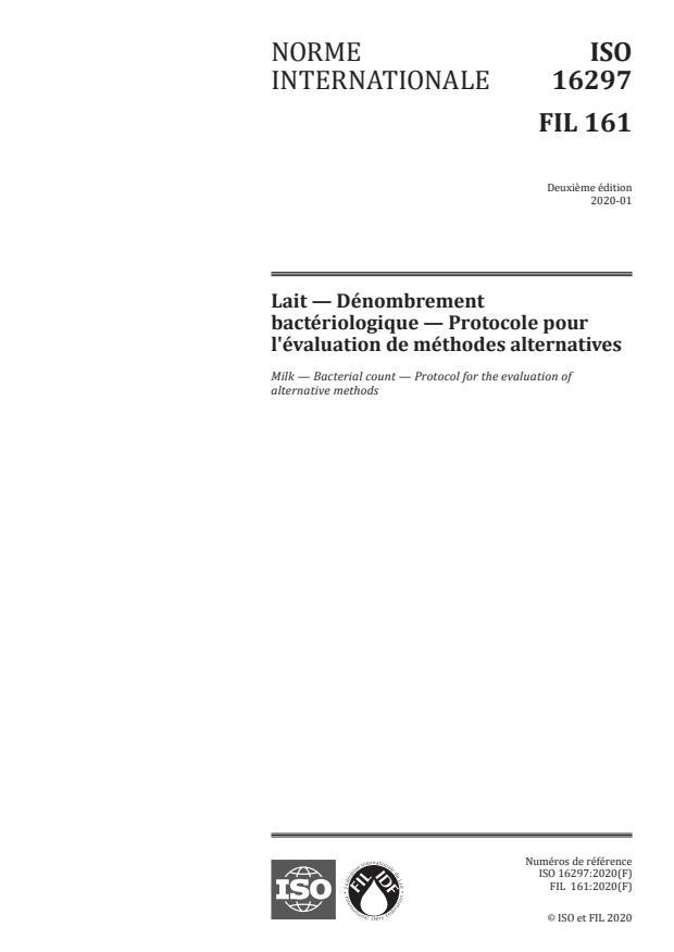 ISO 16297:2020 - Lait -- Dénombrement bactériologique -- Protocole pour l'évaluation de méthodes alternatives