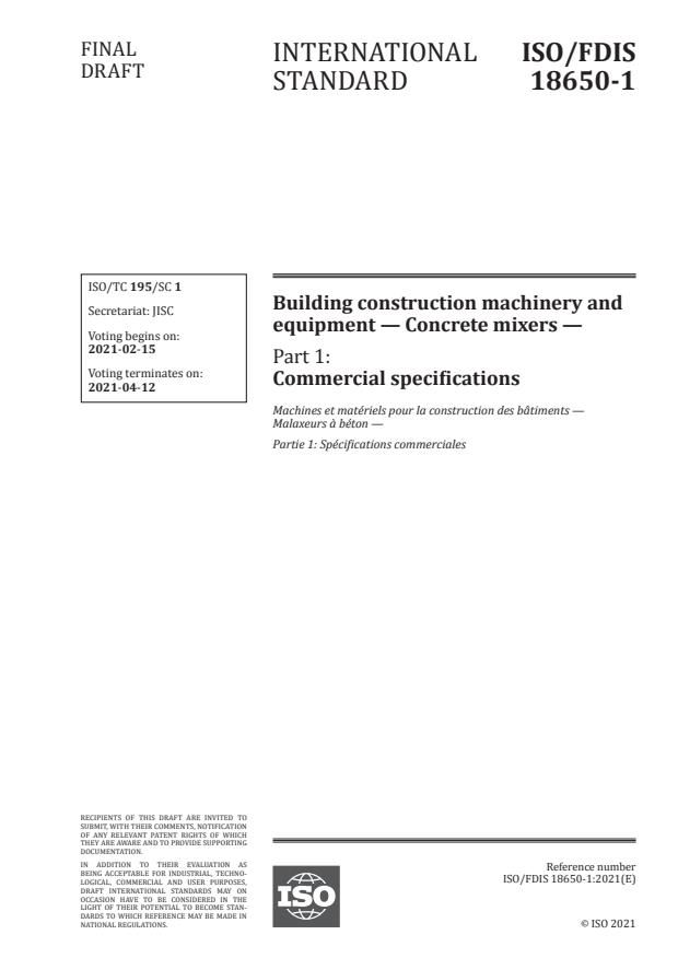 ISO/FDIS 18650-1:Version 12-feb-2021 - Building construction machinery and equipment -- Concrete mixers