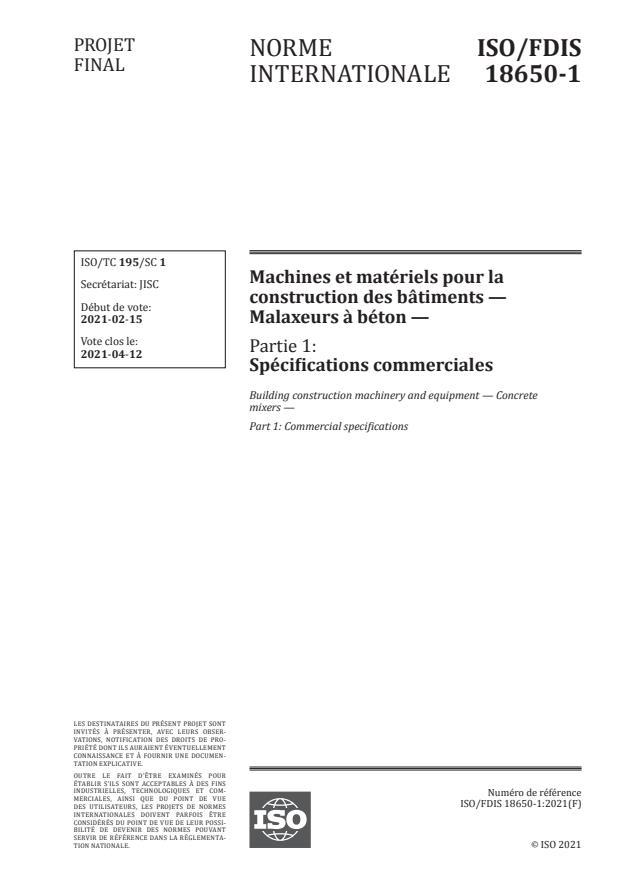 ISO/FDIS 18650-1:Version 06-mar-2021 - Machines et matériels pour la construction des bâtiments -- Malaxeurs a béton