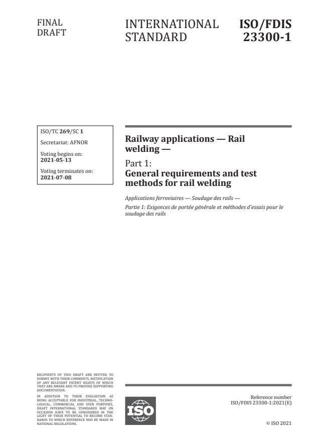 ISO/FDIS 23300-1 - Railway applications -- Rail welding