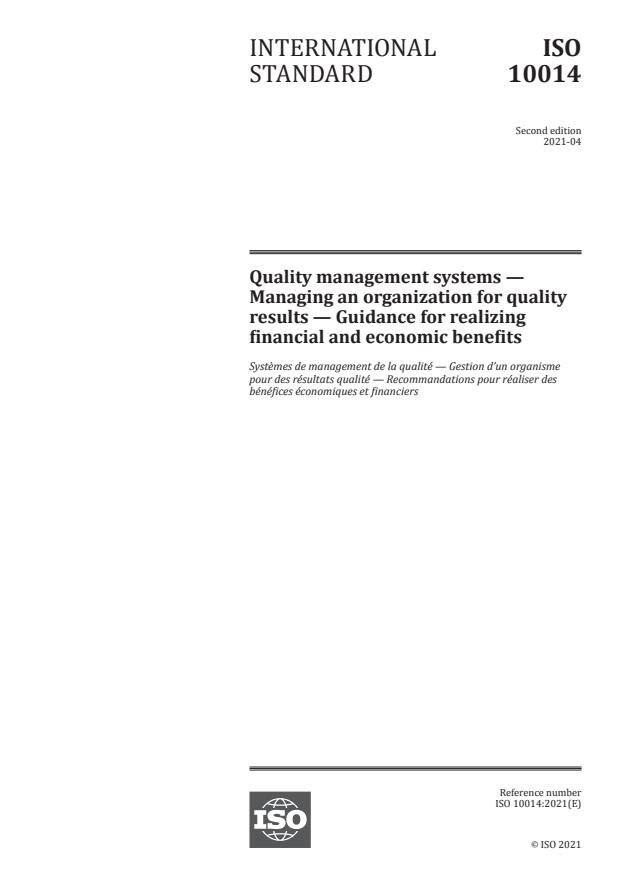 ISO 10014:2021 - Quality management systems -- Managing an organization for quality results -- Guidance for realizing financial and economic benefits