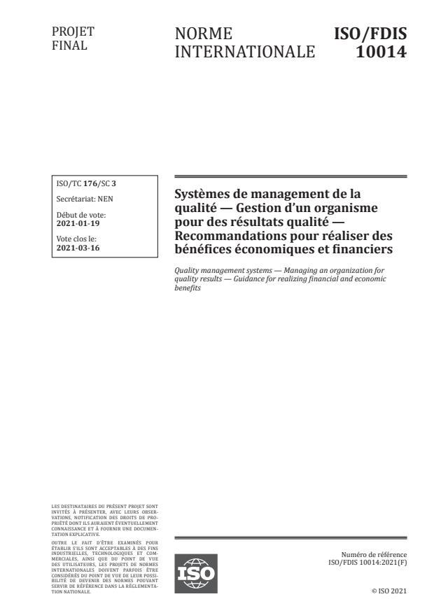ISO/FDIS 10014:Version 20-feb-2021 - Systemes de management de la qualité -- Gestion d'un organisme pour des résultats qualité -- Recommandations pour réaliser des bénéfices économiques et financiers