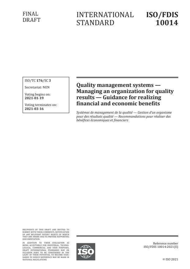 ISO/FDIS 10014:Version 16-jan-2021 - Quality management systems -- Managing an organization for quality results -- Guidance for realizing financial and economic benefits