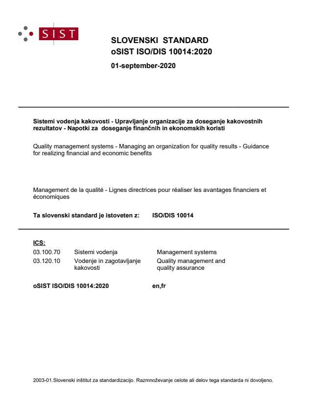 oSIST ISO/DIS 10014:2020