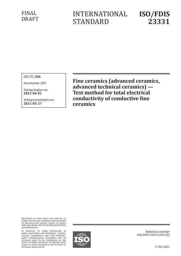ISO/FDIS 23331:Version 27-mar-2021 - Fine ceramics (advanced ceramics, advanced technical ceramics) -- Test method for total electrical conductivity of conductive fine ceramics