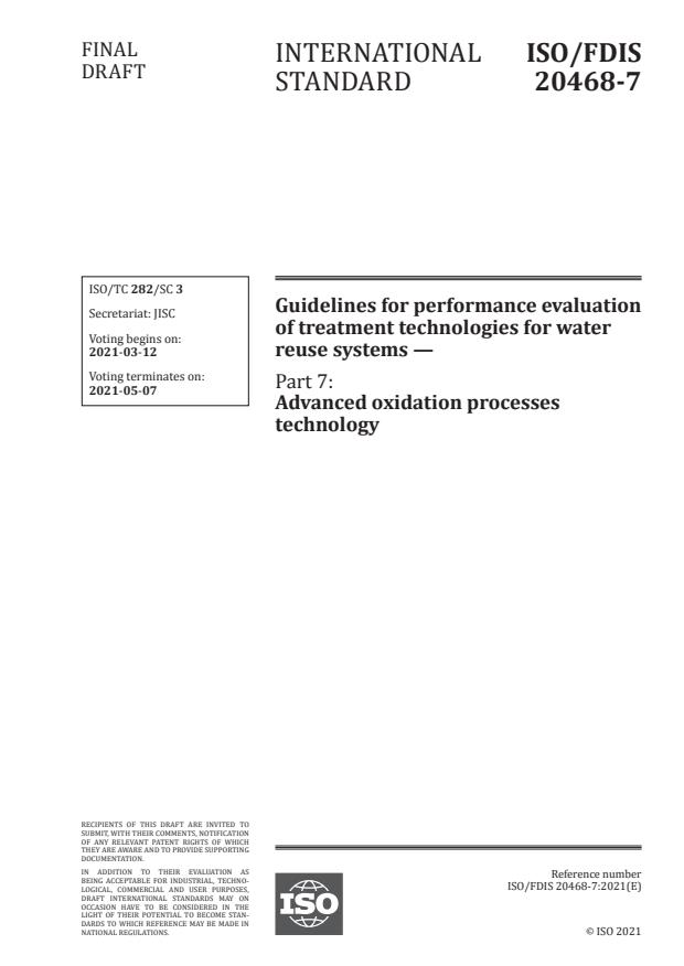 ISO/FDIS 20468-7:Version 06-mar-2021 - Guidelines for performance evaluation of treatment technologies for water reuse systems