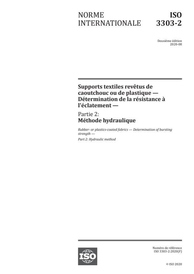ISO 3303-2:2020 - Supports textiles revêtus de caoutchouc ou de plastique -- Détermination de la résistance à l'éclatement