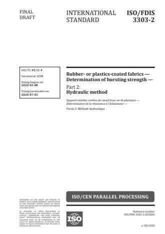 ISO/FDIS 3303-2 - Rubber- or plastics-coated fabrics -- Determination of bursting strength