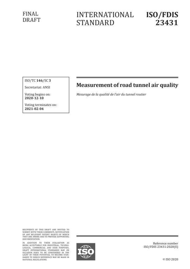 ISO/FDIS 23431:Version 12-dec-2020 - Measurement of road tunnel air quality