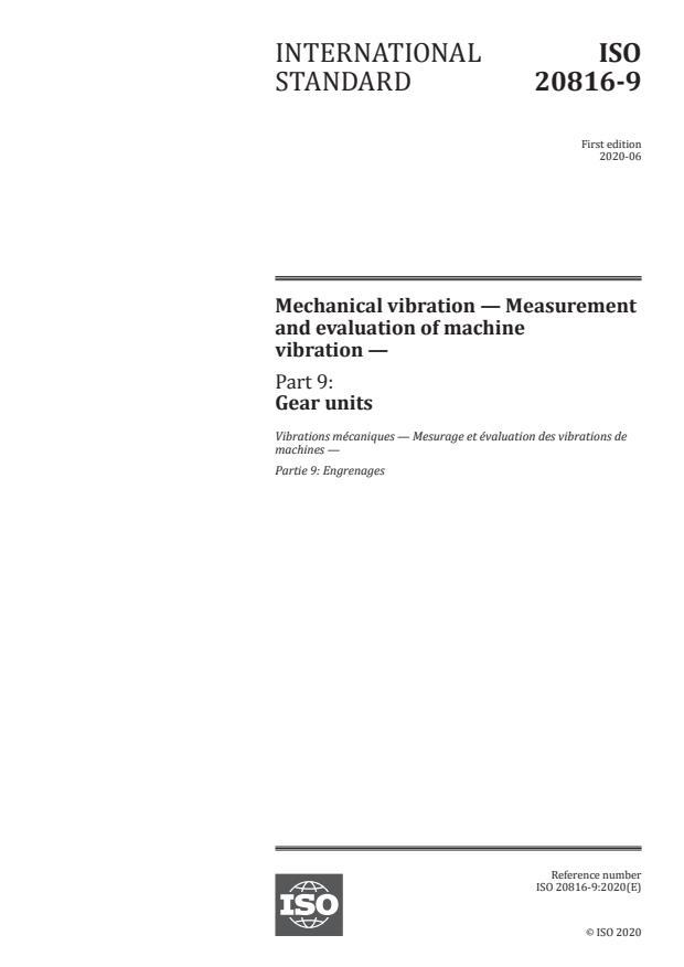 ISO 20816-9:2020 - Mechanical vibration -- Measurement and evaluation of machine vibration