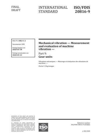 ISO/FDIS 20816-9 - Mechanical vibration -- Measurement and evaluation of machine vibration