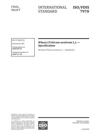 ISO/FDIS 7970:Version 13-okt-2020 - Wheat (Triticum aestivum L.) -- Specification