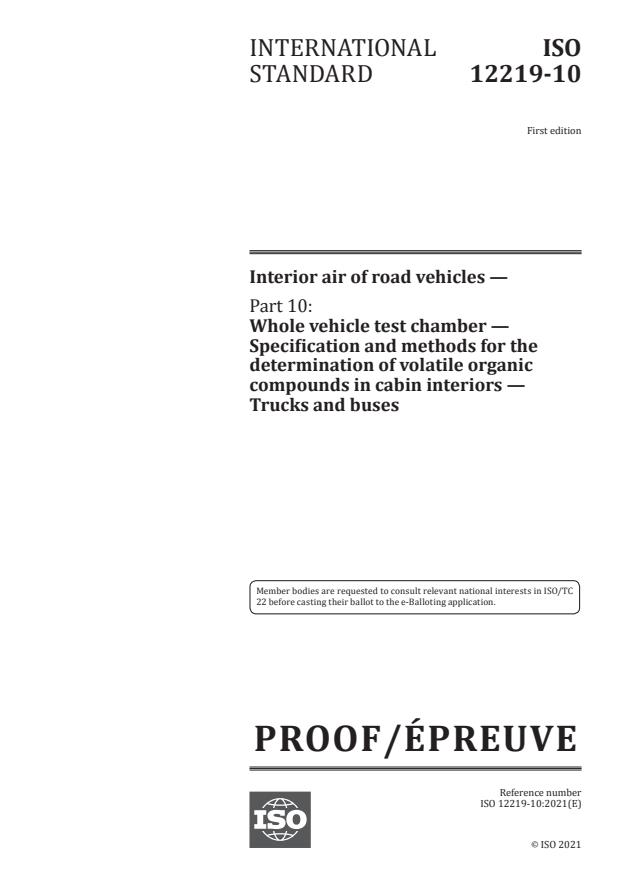 ISO/PRF 12219-10:Version 17-apr-2021 - Interior air of road vehicles