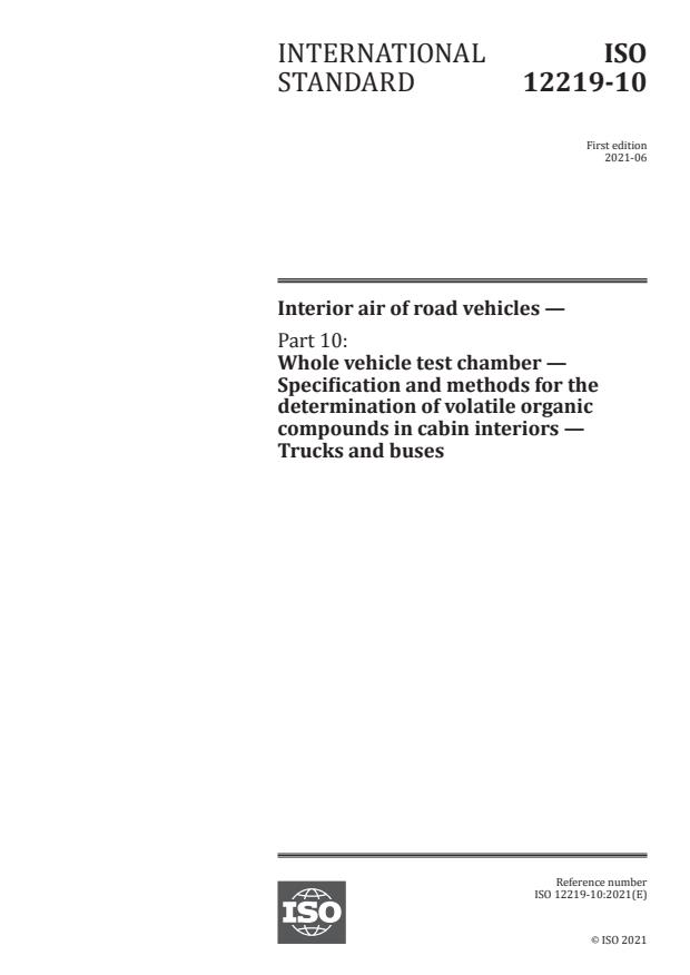 ISO 12219-10:2021 - Interior air of road vehicles