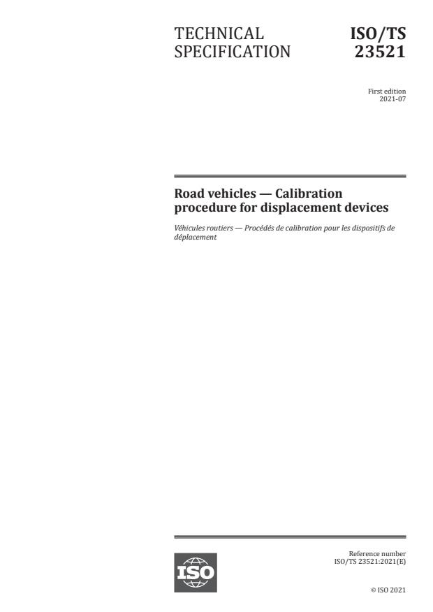 ISO/TS 23521:2021 - Road vehicles -- Calibration procedure for displacement devices