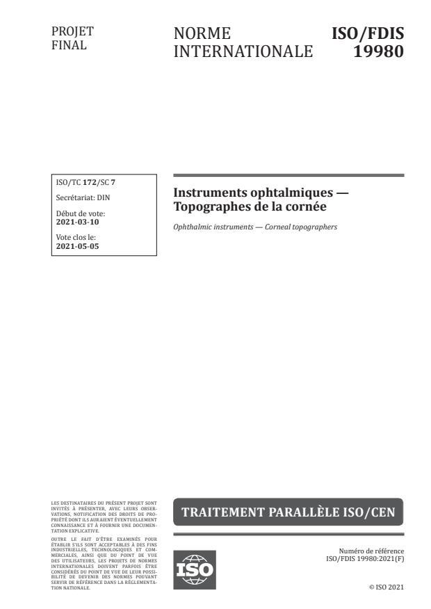 ISO/FDIS 19980:Version 18-apr-2021 - Instruments ophtalmiques -- Topographes de la cornée
