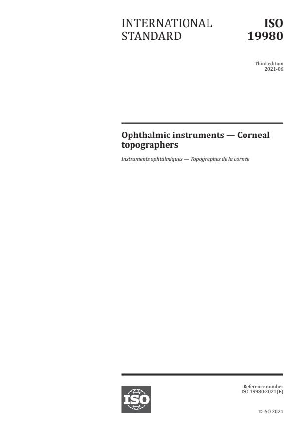 ISO 19980:2021 - Ophthalmic instruments -- Corneal topographers