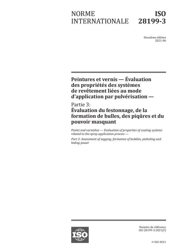 ISO 28199-3:2021 - Peintures et vernis -- Évaluation des propriétés des systèmes de revêtement liées au mode d'application par pulvérisation