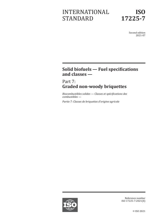 ISO 17225-7:2021 - Solid biofuels -- Fuel specifications and classes