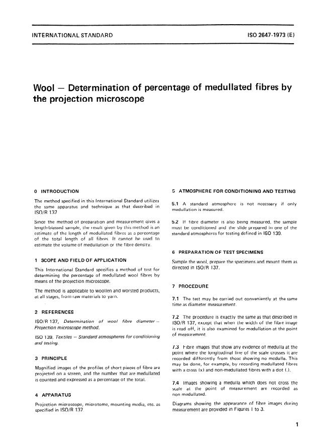 ISO 2647:1973 - Wool -- Determination of percentage of medullated fibres by the projection microscope