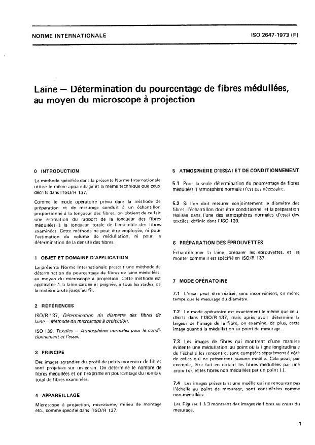 ISO 2647:1973 - Laine -- Détermination du pourcentage de fibres médullées, au moyen du microscope a projection