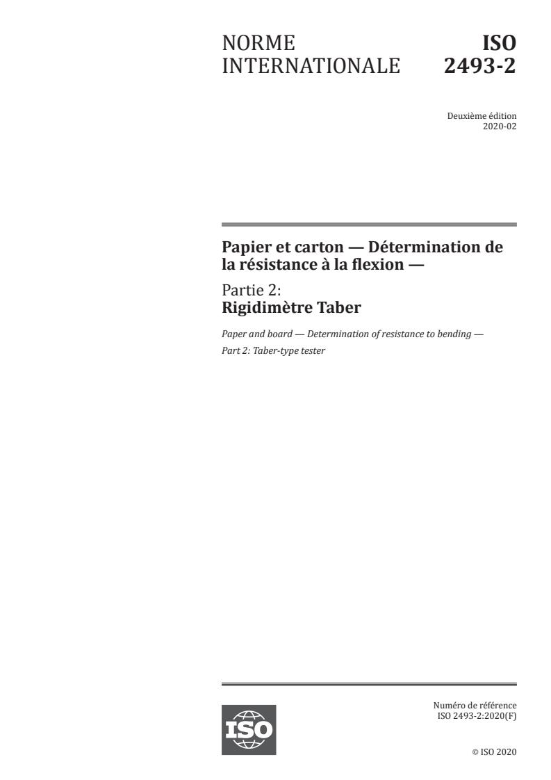 ISO 2493-2:2020 - Papier et carton -- Détermination de la résistance a la flexion