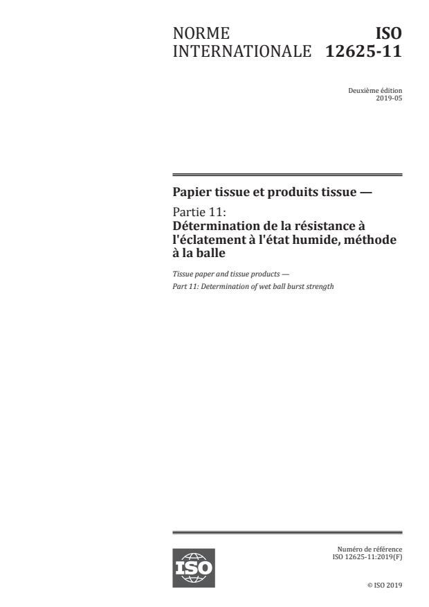 ISO 12625-11:2019 - Papier tissue et produits tissue