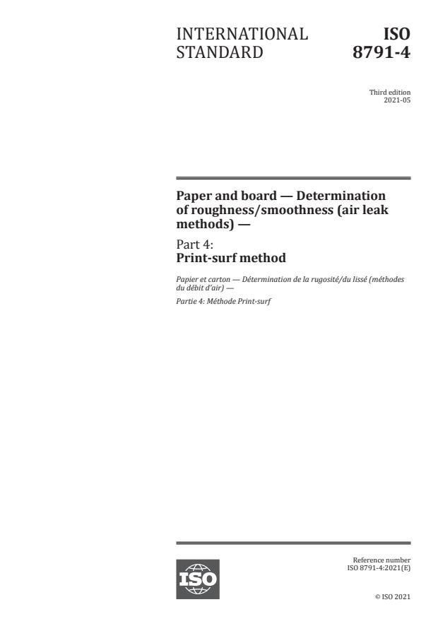 ISO 8791-4:2021 - Paper and board -- Determination of roughness/smoothness (air leak methods)