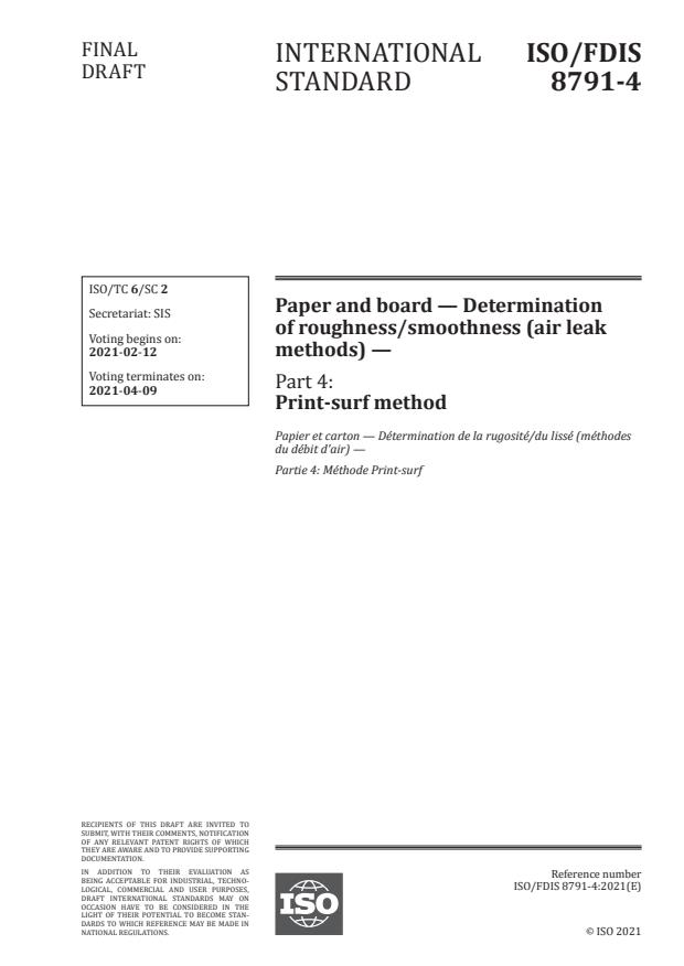 ISO/FDIS 8791-4:Version 05-feb-2021 - Paper and board -- Determination of roughness/smoothness (air leak methods)